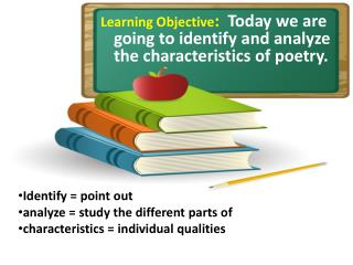 Learning Objective :   Today we are going to identify and analyze the characteristics of poetry.