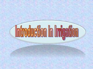 Introduction in Irrigation