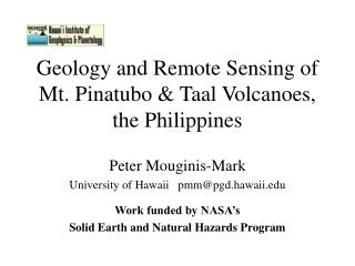 Geology and Remote Sensing of Mt. Pinatubo & Taal Volcanoes, the Philippines