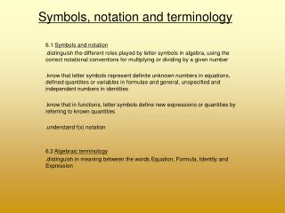 Symbols, notation and terminology
