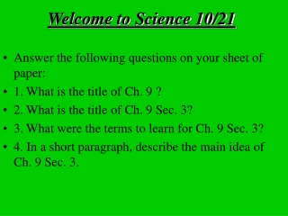 Welcome to Science 10/21