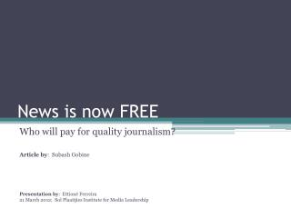 News is now FREE