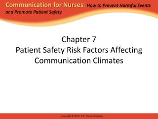Chapter 7 Patient Safety Risk Factors Affecting Communication Climates