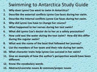 Swimming to Antarctica Study Guide