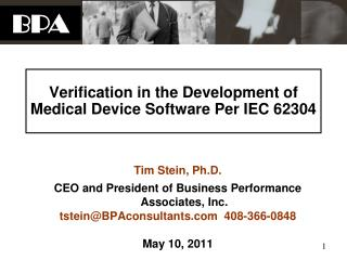 Verification in the Development of Medical Device Software Per IEC 62304