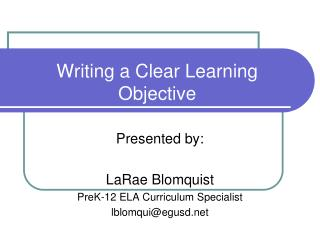 Writing a Clear Learning Objective