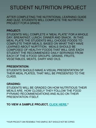 STUDENT NUTRITION PROJECT