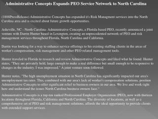 Administrative Concepts Expands PEO Service Network to North