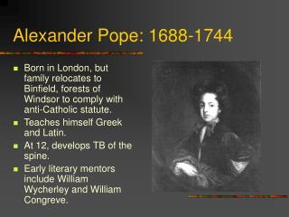 Alexander Pope: 1688-1744