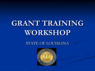 GRANT TRAINING WORKSHOP