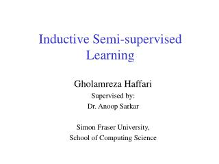 Inductive Semi-supervised Learning