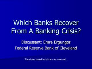 Which Banks Recover From A Banking Crisis?