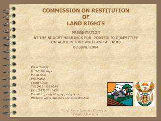 COMMISSION ON RESTITUTION  OF  LAND RIGHTS