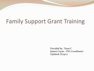 Family Support Grant Training