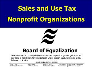 Sales and Use Tax Nonprofit Organizations