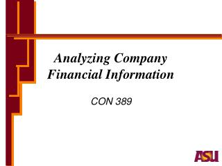 Analyzing Company  Financial Information