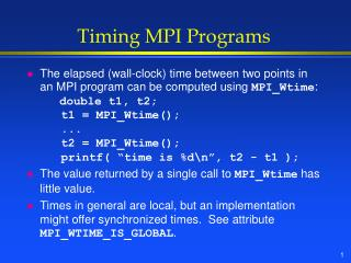 Timing MPI Programs