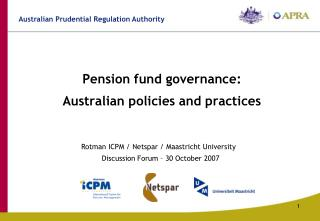 Pension fund governance:  Australian policies and practices