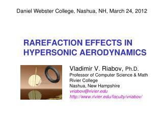 RAREFACTION EFFECTS IN HYPERSONIC AERODYNAMICS
