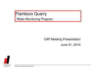 Flamboro Quarry  Water Monitoring Program
