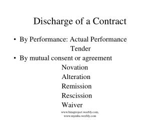 Discharge of a Contract