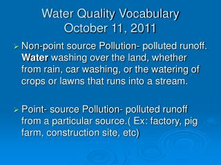 Water Quality Vocabulary October 11, 2011
