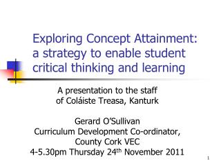 Exploring Concept Attainment: a strategy to enable student critical thinking and learning