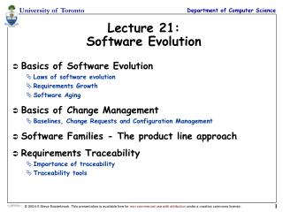 Lecture 21: Software Evolution