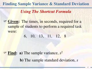Finding Sample Variance & Standard Deviation