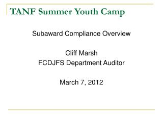 TANF Summer Youth Camp