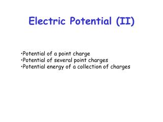 Electric Potential (II)