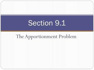 the apportionment problem