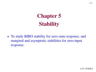 Chapter 5 Stability
