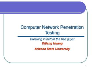 Computer Network Penetration Testing Breaking in before the bad guys!