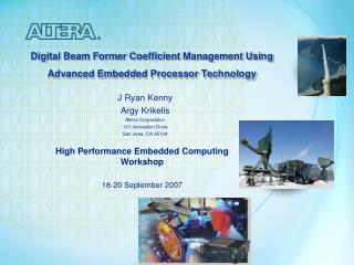Digital Beam Former Coefficient Management Using Advanced Embedded Processor Technology