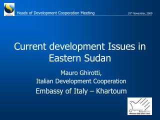 Current development Issues in Eastern Sudan