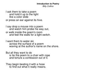 Billy collins introduction to poetry essay