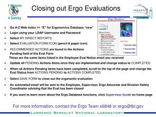 Closing out Ergo Evaluations