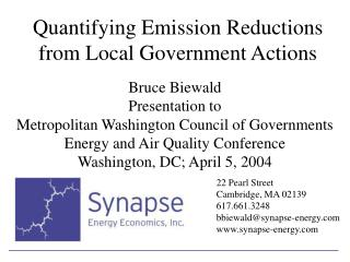 Quantifying Emission Reductions from Local Government Actions