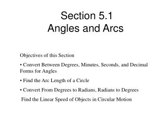 Section 5.1 Angles and Arcs
