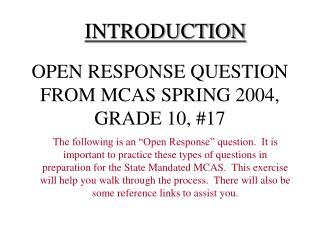 OPEN RESPONSE QUESTION FROM MCAS SPRING 2004, GRADE 10, #17