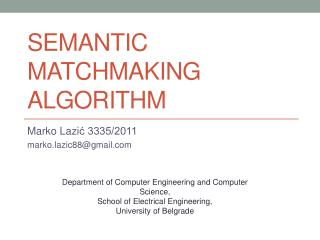 Semantic Matchmaking Algorithm