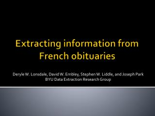 Extracting information from French obituaries