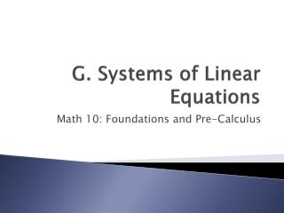 G. Systems of Linear Equations