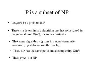 P is a subset of NP