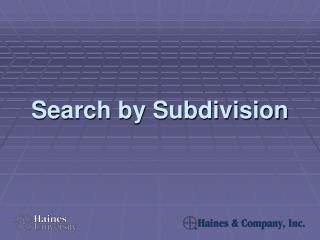 Search by Subdivision