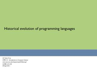 Historical evolution of programming languages