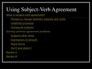 Using Subject-Verb Agreement