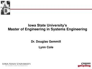 Iowa State University's Master of Engineering in Systems Engineering