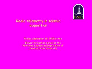 Radio-telemetry in seismic acquisition